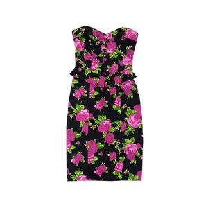 Betsey Johnson Sz 2Floral Peplum Strapless Dress